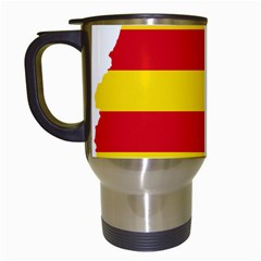 Flag Map Of Catalonia Travel Mugs (white)