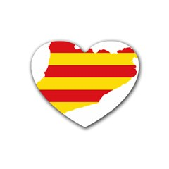 Flag Map Of Catalonia Rubber Coaster (heart)
