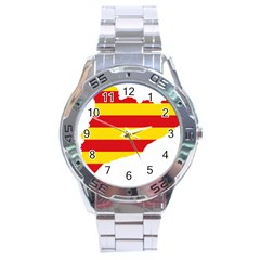 Flag Map Of Catalonia Stainless Steel Analogue Watch