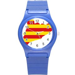 Flag Map Of Catalonia Round Plastic Sport Watch (s)