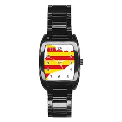 Flag Map Of Catalonia Stainless Steel Barrel Watch