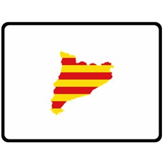Flag Map Of Catalonia Double Sided Fleece Blanket (large)