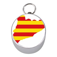 Flag Map Of Catalonia Mini Silver Compasses