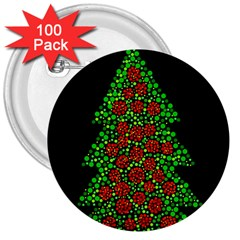 Sparkling Christmas tree 3  Buttons (100 pack)