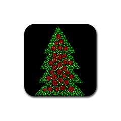 Sparkling Christmas tree Rubber Coaster (Square)
