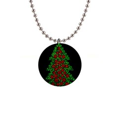 Sparkling Christmas tree Button Necklaces