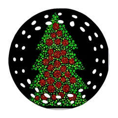 Sparkling Christmas tree Round Filigree Ornament (2Side)