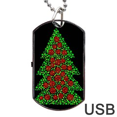 Sparkling Christmas tree Dog Tag USB Flash (One Side)
