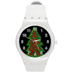 Sparkling Christmas tree Round Plastic Sport Watch (M)
