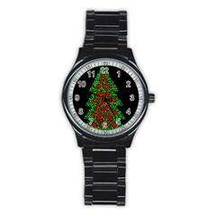 Sparkling Christmas tree Stainless Steel Round Watch
