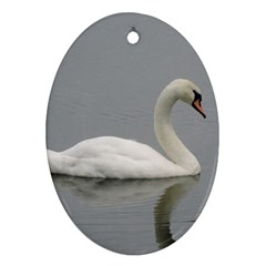 Swimming White Swan Oval Ornament (two Sides)