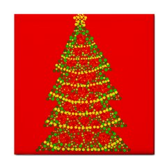Sparkling Christmas tree - red Tile Coasters