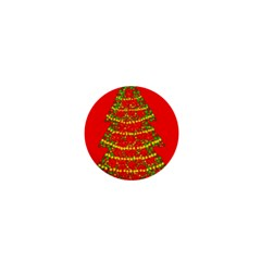Sparkling Christmas tree - red 1  Mini Buttons
