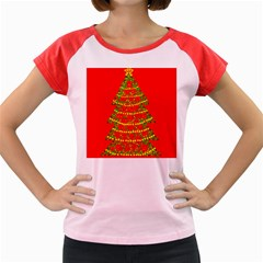 Sparkling Christmas tree - red Women s Cap Sleeve T-Shirt