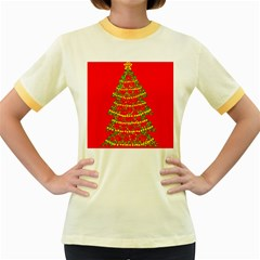 Sparkling Christmas tree - red Women s Fitted Ringer T-Shirts