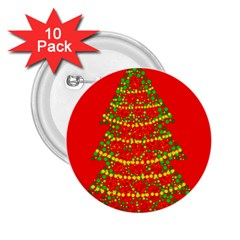 Sparkling Christmas tree - red 2.25  Buttons (10 pack)