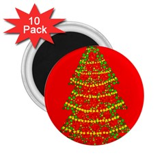 Sparkling Christmas tree - red 2.25  Magnets (10 pack)