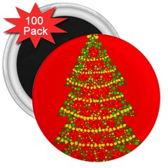 Sparkling Christmas tree - red 3  Magnets (100 pack)