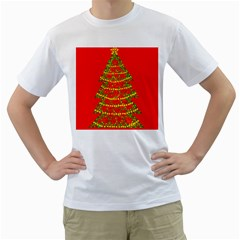 Sparkling Christmas tree - red Men s T-Shirt (White) (Two Sided)