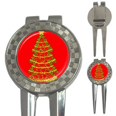 Sparkling Christmas tree - red 3-in-1 Golf Divots