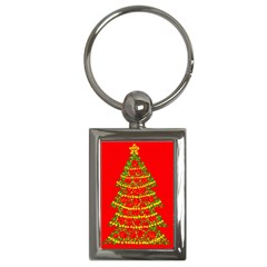 Sparkling Christmas tree - red Key Chains (Rectangle)
