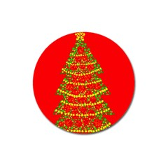 Sparkling Christmas tree - red Magnet 3  (Round)