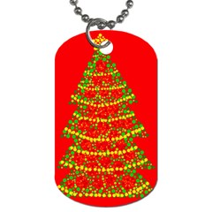 Sparkling Christmas tree - red Dog Tag (One Side)