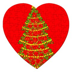Sparkling Christmas tree - red Jigsaw Puzzle (Heart)