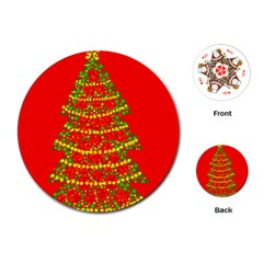 Sparkling Christmas tree - red Playing Cards (Round)