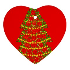 Sparkling Christmas tree - red Heart Ornament (2 Sides)