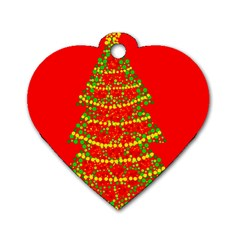 Sparkling Christmas tree - red Dog Tag Heart (Two Sides)