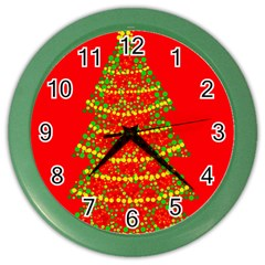 Sparkling Christmas tree - red Color Wall Clocks