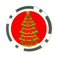Sparkling Christmas tree - red Poker Chip Card Guards