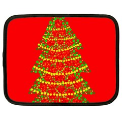 Sparkling Christmas tree - red Netbook Case (Large)