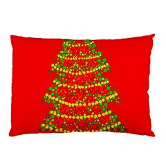 Sparkling Christmas tree - red Pillow Case