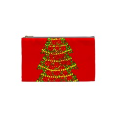 Sparkling Christmas tree - red Cosmetic Bag (Small)