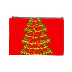 Sparkling Christmas tree - red Cosmetic Bag (Large)