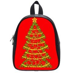 Sparkling Christmas tree - red School Bags (Small)