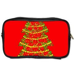 Sparkling Christmas tree - red Toiletries Bags