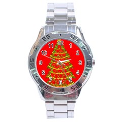 Sparkling Christmas tree - red Stainless Steel Analogue Watch