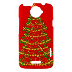 Sparkling Christmas tree - red HTC One X Hardshell Case