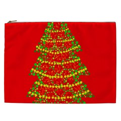 Sparkling Christmas tree - red Cosmetic Bag (XXL)