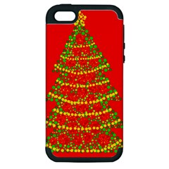 Sparkling Christmas tree - red Apple iPhone 5 Hardshell Case (PC+Silicone)