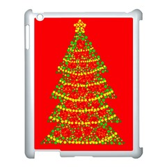 Sparkling Christmas tree - red Apple iPad 3/4 Case (White)