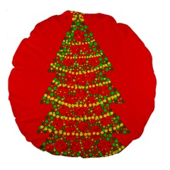 Sparkling Christmas tree - red Large 18  Premium Round Cushions