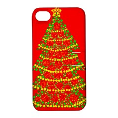 Sparkling Christmas tree - red Apple iPhone 4/4S Hardshell Case with Stand