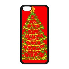 Sparkling Christmas tree - red Apple iPhone 5C Seamless Case (Black)