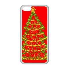 Sparkling Christmas tree - red Apple iPhone 5C Seamless Case (White)