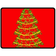 Sparkling Christmas tree - red Double Sided Fleece Blanket (Large)