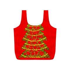 Sparkling Christmas tree - red Full Print Recycle Bags (S)